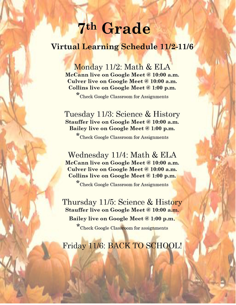 7th 8th Virtual Learning Schedule