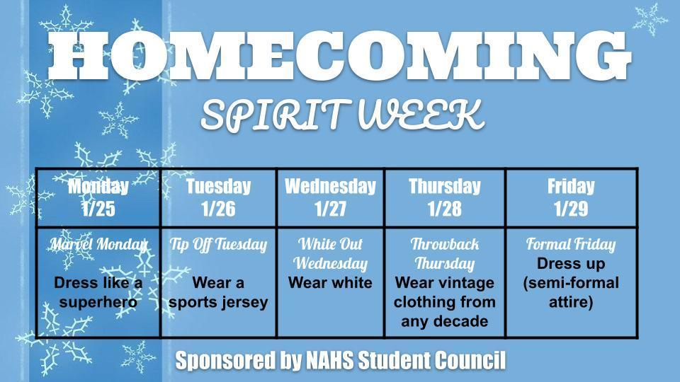 Guidelines to dress up to celebrate Homecoming Spirit Week