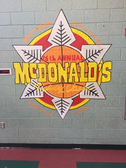 McDonald's Holiday Classic Tournament logo re-created by Art Class  in masking tape