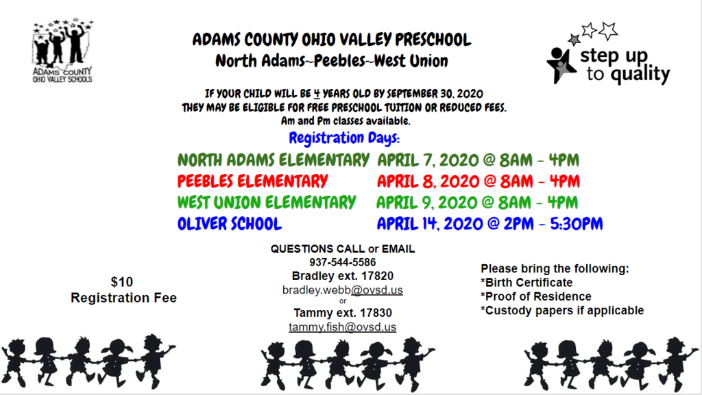 Pre-School Registration Info