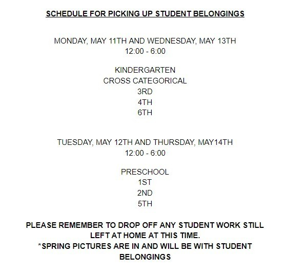 Pick up schedule for student belongings